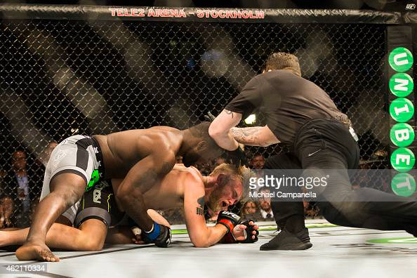 Anthony Johnson of the United States delivers the knockout to Alexander Gustafsson of Sweden during the UFC Fight Night event at Tele2 Arena on...