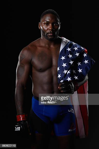 Anthony Johnson poses for a photo after defeating Glover Teixeira of Brazil in their light heavyweight bout during the UFC 202 event at TMobile Arena...
