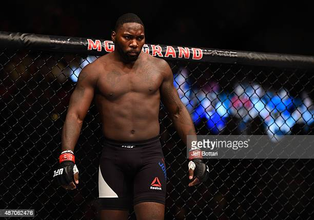 Anthony Johnson prepares for round two of his light heavyweight bout during the UFC 191 event inside MGM Grand Garden Arena on September 5 2015 in...