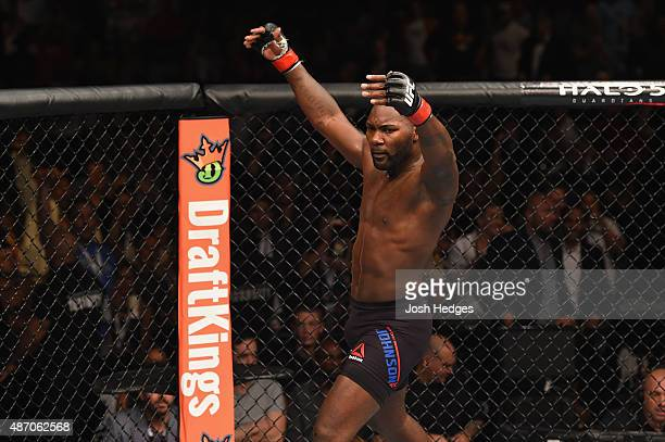 Anthony Johnson reacts to his knockout victory over Jimi Manuwa in their light heavyweight bout during the UFC 191 event inside MGM Grand Garden...