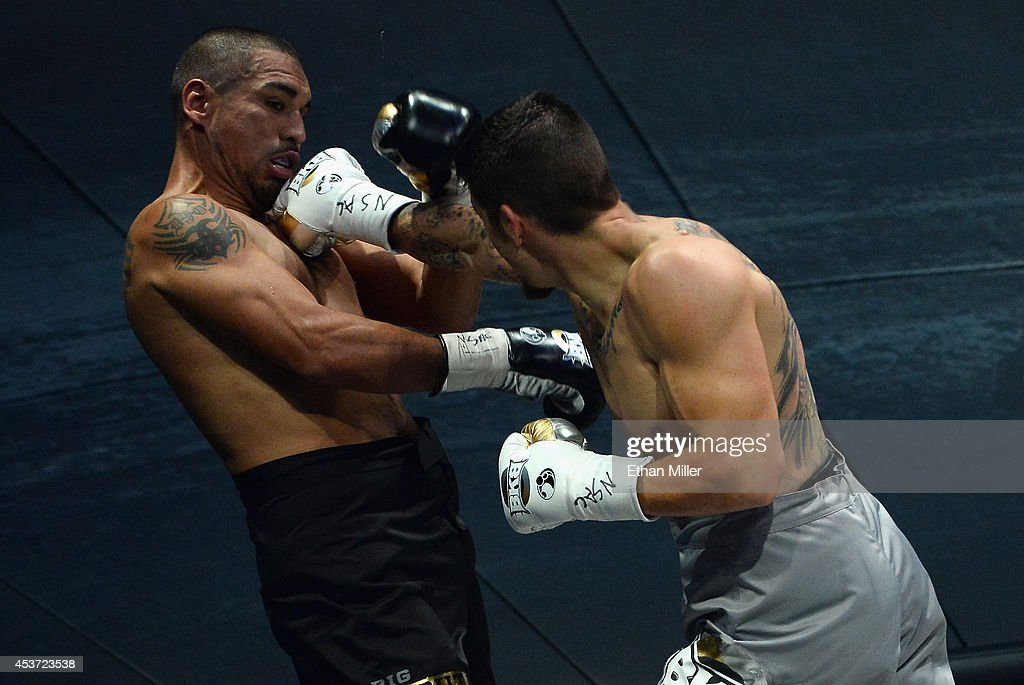 Anthony Johnson throws a right to the face of Dimar Ortuz during their cruiserweight title fight at the inaugural event for BKB Big Knockout Boxing...