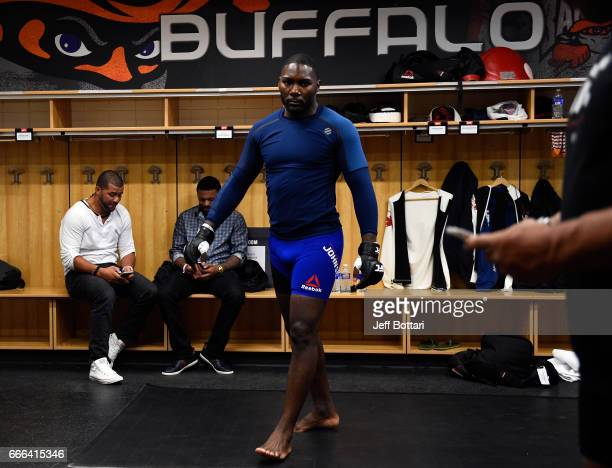 Anthony Johnson warms up backstage during the UFC 210 event at the KeyBank Center on April 8 2017 in Buffalo New York