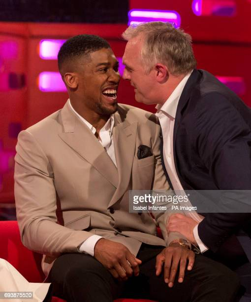 Anthony Joshua and Greg Davies during filming of the Graham Norton Show at the London Studios to be aired on BBC One on Friday evening