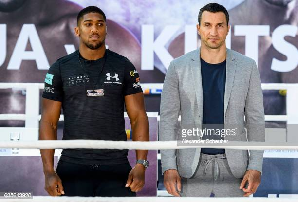 Anthony Joshua and Wladimir Klitschko pose during the press conference with Anthony Joshua and Wladimir Klitschko at RTL media group mall on February...