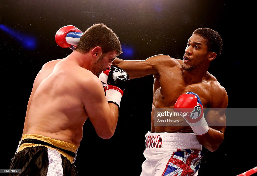 <a gi-track='captionPersonalityLinkClicked' href=/galleries/search?phrase=Anthony+Joshua&family=editorial&specificpeople=8598922 ng-click='$event.stopPropagation()'>Anthony Joshua</a> catches Emanuele Leo during their Heavyweight bout at O2 Arena on October 5, 2013 in London, England.