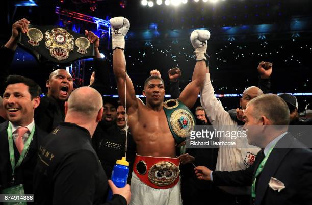 Anthony Joshua celebrates after defeating Wladimir Klitschko in the IBF WBA and IBO Heavyweight World Title bout at Wembley Stadium on April 29 2017...