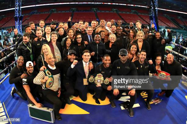 Anthony Joshua celebrates with his friends and family following victory over Wladimir Klitschko in the IBF WBA and IBO Heavyweight World Title bout...