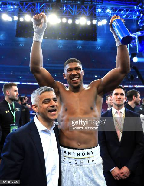 Anthony Joshua celebrates with Mayor of London Sadiq Khan following victory over Wladimir Klitschko in the IBF WBA and IBO Heavyweight World Title...