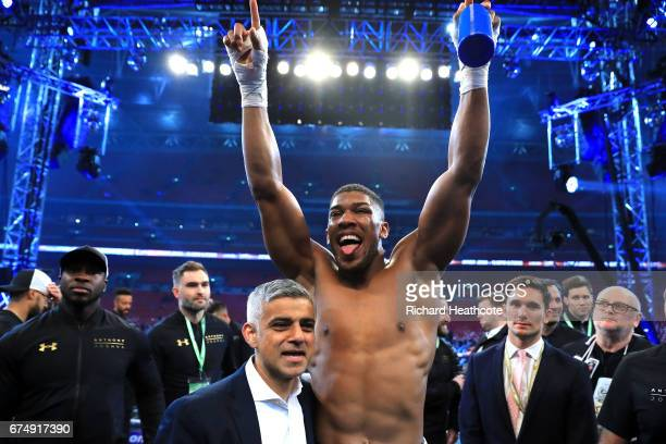 Anthony Joshua celebrates with Mayor of London Sadiq Khan following victory over Wladimir Klitschko in the IBF WBA and IBO Heavyweight World Title...