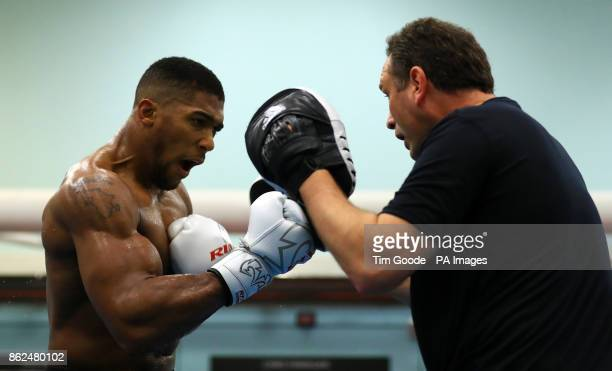 Anthony Joshua during a media session at the English Institute of Sport Sheffield
