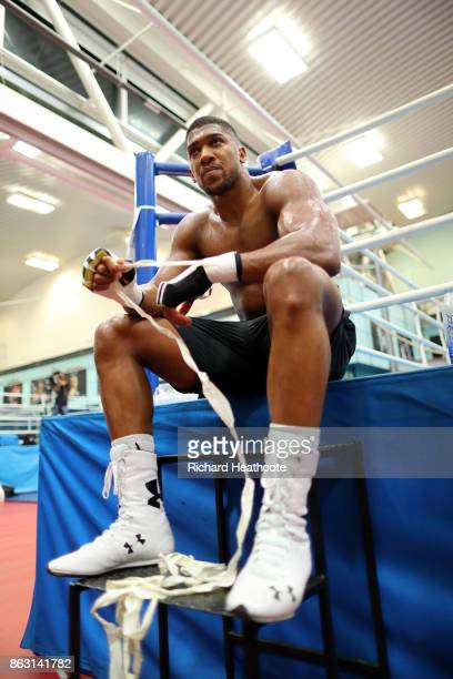 Anthony Joshua during a media workout at the English Institute of Sport on October 17 2017 in Sheffield England
