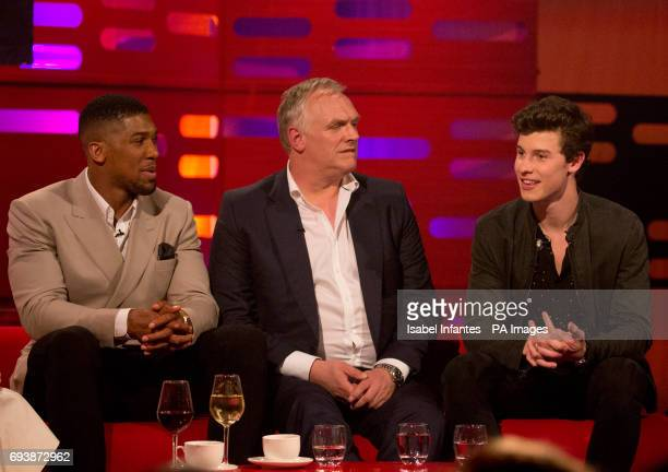 Anthony Joshua Greg Davies and Shawn Mendes during filming of the Graham Norton Show at the London Studios to be aired on BBC One on Friday evening