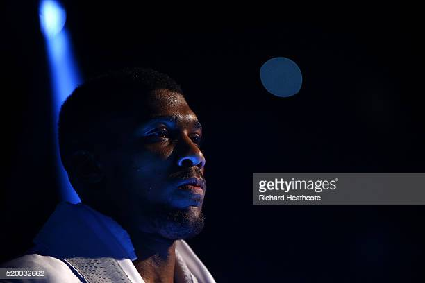 Anthony Joshua of England enters the arena before the IBF World Heavyweight title fight against Charles Martin of the United States at The O2 Arena...