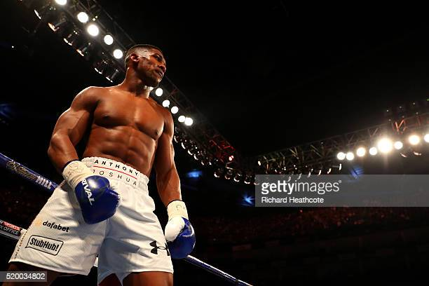 Anthony Joshua of England looks on during the IBF World Heavyweight title fight against Charles Martin of the United States at The O2 Arena on April...