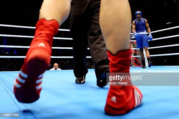 Anthony Joshua of Great Britain walks to a corner after knocking down Zhilei Zhang of China during the Men's Super Heavy on Day 10 of the London 2012...