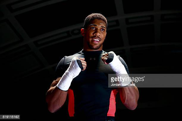 Anthony Joshua performs a public workout at York Hall on April 4 2016 in London England