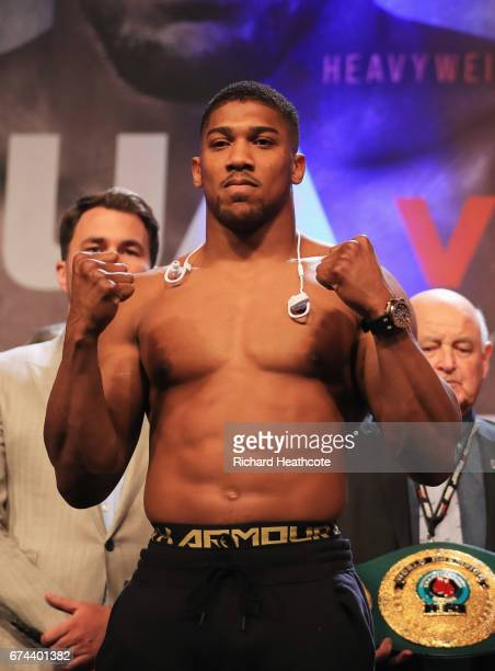 Anthony Joshua poses during the weighin prior to the Heavyweight Championship contest Wladimir Klitschko against at Wembley Arena on April 28 2017 in...