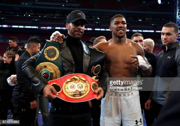 Anthony Joshua post fight with Rio Ferdinand following the IBF WBA and IBO Heavyweight World Title bout against Wladimir Klitschko at Wembley Stadium...
