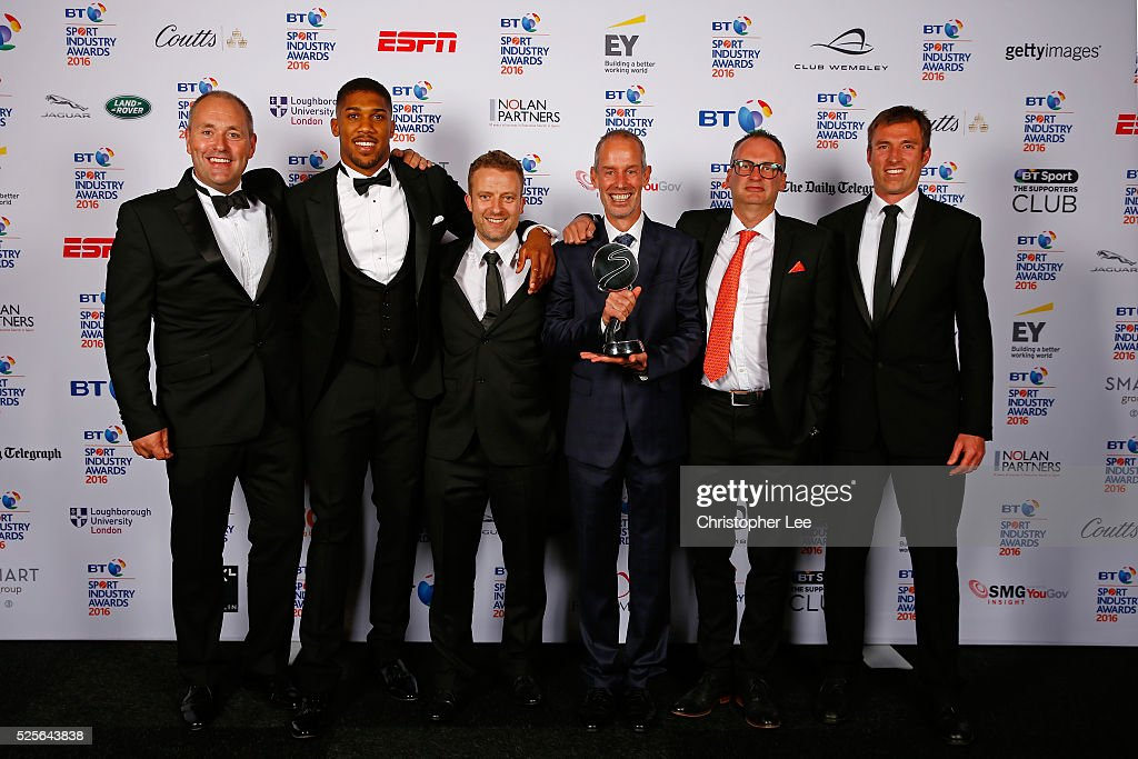 Anthony Joshua (2ndL) presents the Participation Event of the Year in association with XL Catlin to parkrun UK at the BT Sport Industry Awards 2016 at Battersea Evolution on April 28, 2016 in London, England. The BT Sport Industry Awards is the most prestigious commercial sports awards ceremony in Europe, where over 1750 of the industry's key decision-makers mix with high profile sporting celebrities for the most important networking occasion in the sport business calendar.