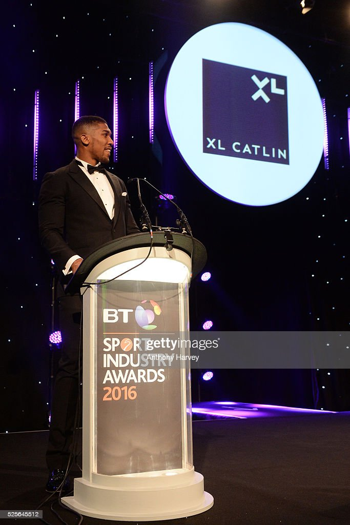 Anthony Joshua presents the Participation Event of the Year in association with XL Catlin to parkrun UK at the BT Sport Industry Awards 2016 at Battersea Evolution on April 28, 2016 in London, England. The BT Sport Industry Awards is the most prestigious commercial sports awards ceremony in Europe, where over 1750 of the industry's key decision-makers mix with high profile sporting celebrities for the most important networking occasion in the sport business calendar.