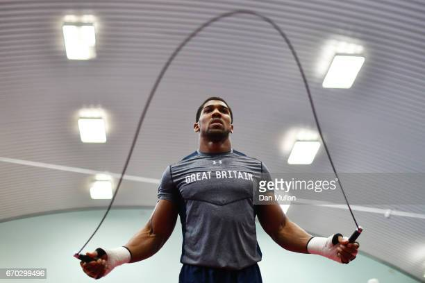 Anthony Joshua skips during the media workout at EIS Sheffield on April 19 2017 in Sheffield England