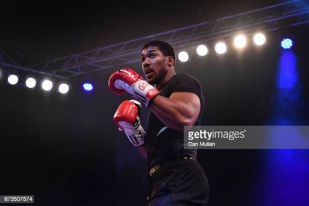 Anthony Joshua takes part in an open workout at Wembley Arena on April 26 2017 in London England Anthony Joshua and Wladimir Klitschko are due to...