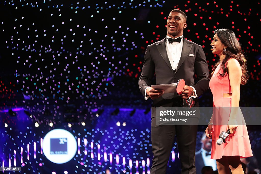 Anthony Joshua talks with Reshmin Chowdhury before presenting the Participation Event of the Year in association with XL Catlin to parkrun UK at the BT Sport Industry Awards 2016 at Battersea Evolution on April 28, 2016 in London, England. The BT Sport Industry Awards is the most prestigious commercial sports awards ceremony in Europe, where over 1750 of the industry's key decision-makers mix with high profile sporting celebrities for the most important networking occasion in the sport business calendar.