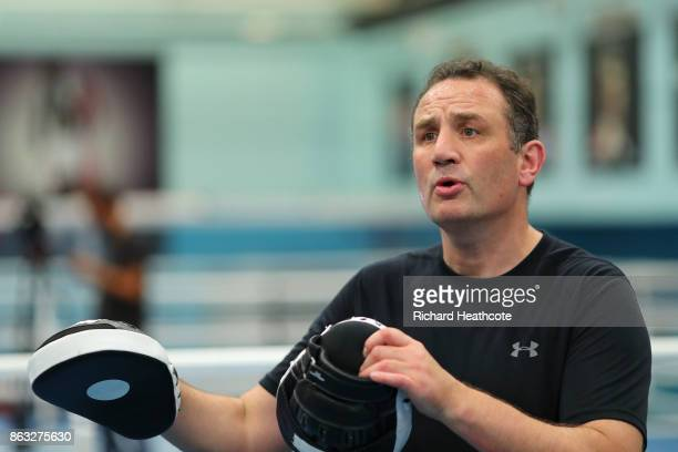 Anthony Joshua's trainer Rob McCracken during a media workout at the English Institute of Sport on October 17 2017 in Sheffield England