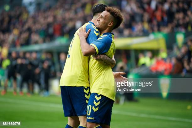 Anthony Jung of Brondby IF and Hany Mukhtar of Brondby IF celebrate after the 21 goal from Hany Mukhtar during the Danish Alka Superliga match...