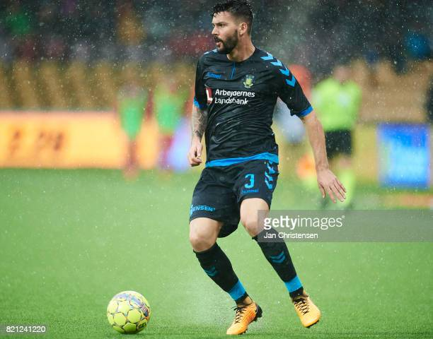 Anthony Jung of Brondby IF controls the ball during the Danish Alka Superliga match between FC Nordsjalland and Brondby IF at Right to Dream Park on...