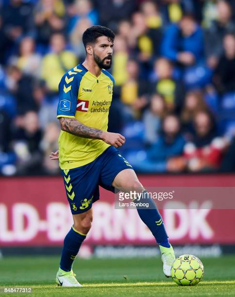 Anthony Jung of Brondby IF controls the ball during the Danish Alka Superliga match between Brondby IF and AaB Aalborg at Brondby Stadion on...