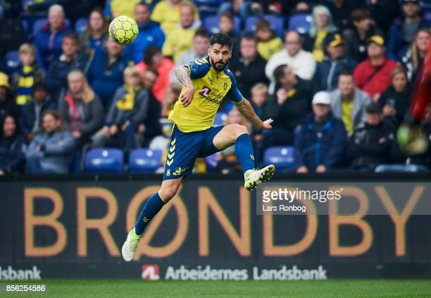 Anthony Jung of Brondby IF in action during the Danish Alka Superliga match between Brondby IF and Sonderjyske at Brondby Stadion on October 1 2017...