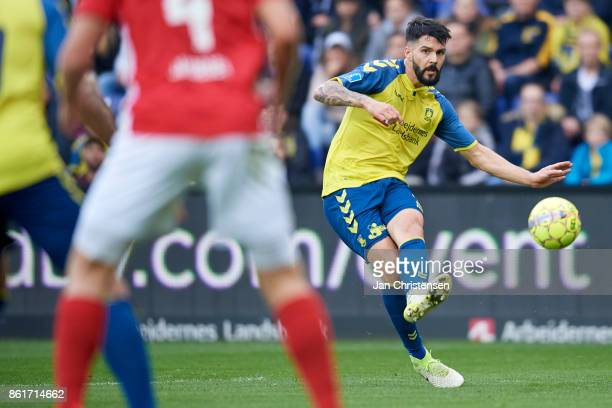 Anthony Jung of Brondby IF in action during the Danish Alka Superliga match between Brondby IF and Silkeborg IF at Brondby Stadion on October 15 2017...
