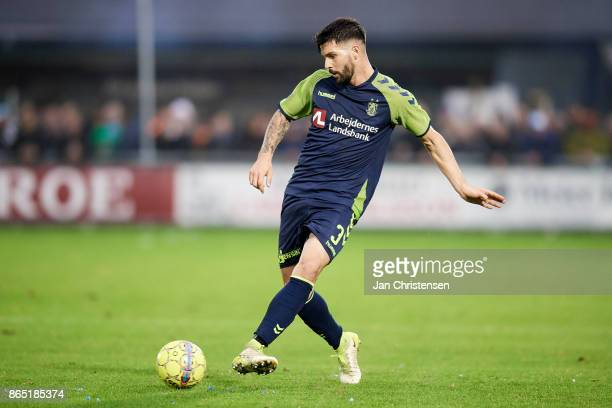 Anthony Jung of Brondby IF in action during the Danish Alka Superliga match between FC Helsingor and Brondby IF at Helsingor Stadion on October 22...