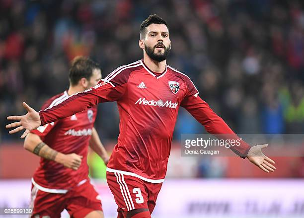 Anthony Jung of Ingolstadt celebrates his teams first goal during the Bundesliga match between FC Ingolstadt 04 and VfL Wolfsburg at Audi Sportpark...