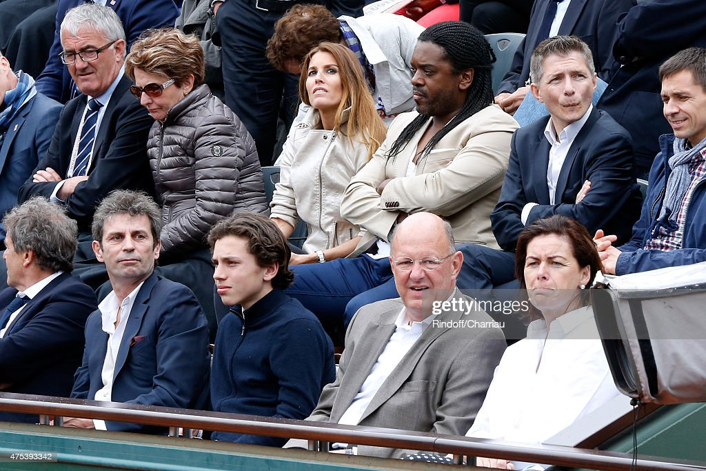 Anthony Kavanagh with his wife Alexandra Kavanagh, Journalist Frederic Taddei with Guest and President of France Television Remy Pflimlin and his wife Agnes attend the 2015 Roland Garros French Tennis Open - Day Eight, on May 31, 2015 in Paris, France.