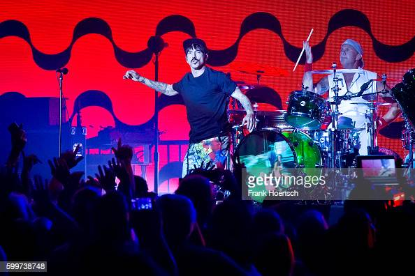 Anthony Kiedis and Chad Smith of the American band Red Hot Chili Peppers perform live during the 360 degree HD live stream concert as part of the...