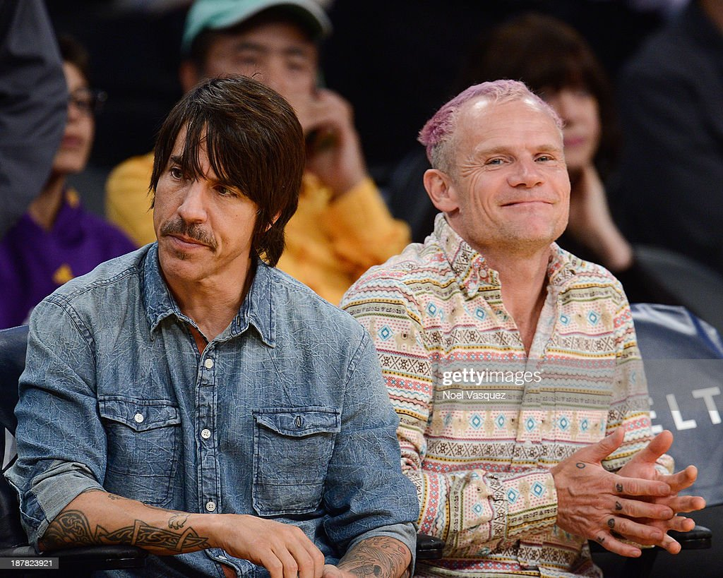 <a gi-track='captionPersonalityLinkClicked' href=/galleries/search?phrase=Anthony+Kiedis&family=editorial&specificpeople=202189 ng-click='$event.stopPropagation()'>Anthony Kiedis</a> (L) and <a gi-track='captionPersonalityLinkClicked' href=/galleries/search?phrase=Flea+-+Musician&family=editorial&specificpeople=213900 ng-click='$event.stopPropagation()'>Flea</a> attend a basketball game between the New Orleans Pelicans and the Los Angeles Lakers at Staples Center on November 12, 2013 in Los Angeles, California.