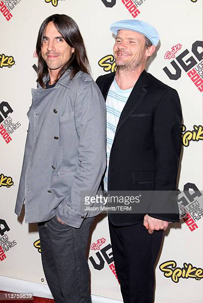 Anthony Kiedis and Flea during 2005 Spike TV Video Game Awards Arrivals at Gibson Amphitheater in Universal City California United States