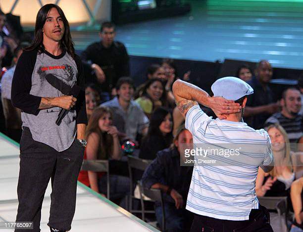 Anthony Kiedis and Flea during 2005 Spike TV Video Game Awards Show at Gibson Amphitheater in Universal City California United States