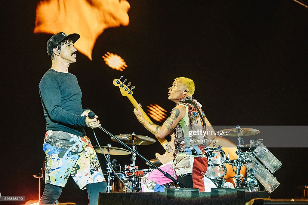 Anthony Kiedis and Flea of Red Hot Chili Peppers performs on stage on Day 2 at Reading Festival 2016 on August 27, 2016 in Reading, England.
