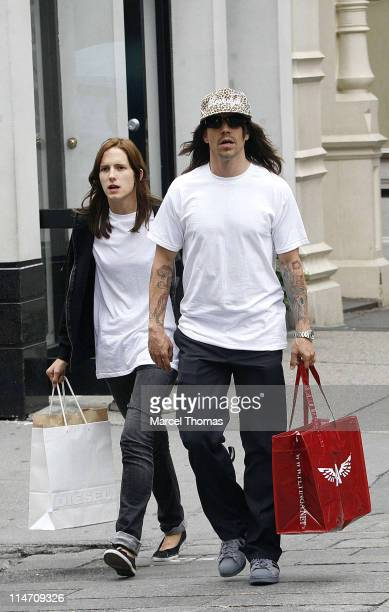 Anthony Kiedis and guest during Anthony Kiedis Sighting In New York June 25 2006 at SoHo in New York City New York United States