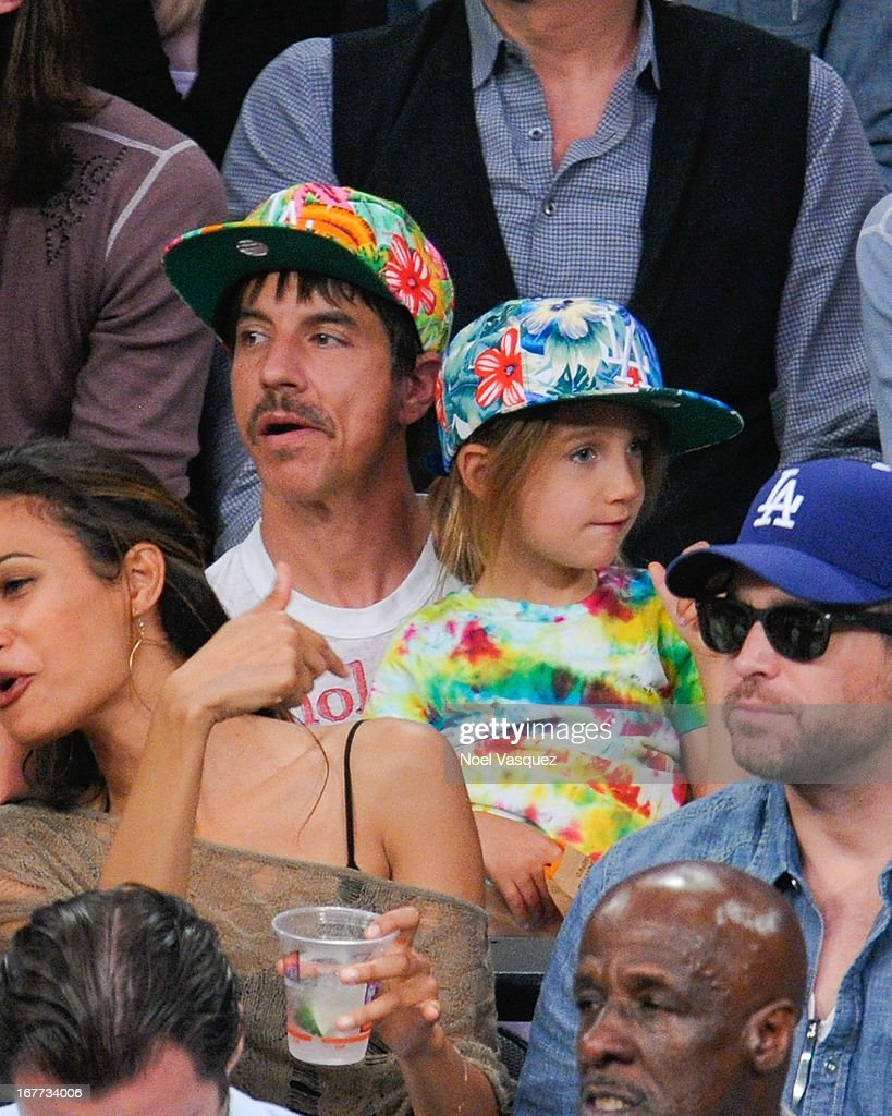 <a gi-track='captionPersonalityLinkClicked' href=/galleries/search?phrase=Anthony+Kiedis&family=editorial&specificpeople=202189 ng-click='$event.stopPropagation()'>Anthony Kiedis</a> attends an NBA playoff game between the San Antonio Spurs and the Los Angeles Lakers at Staples Center on April 28, 2013 in Los Angeles, California.