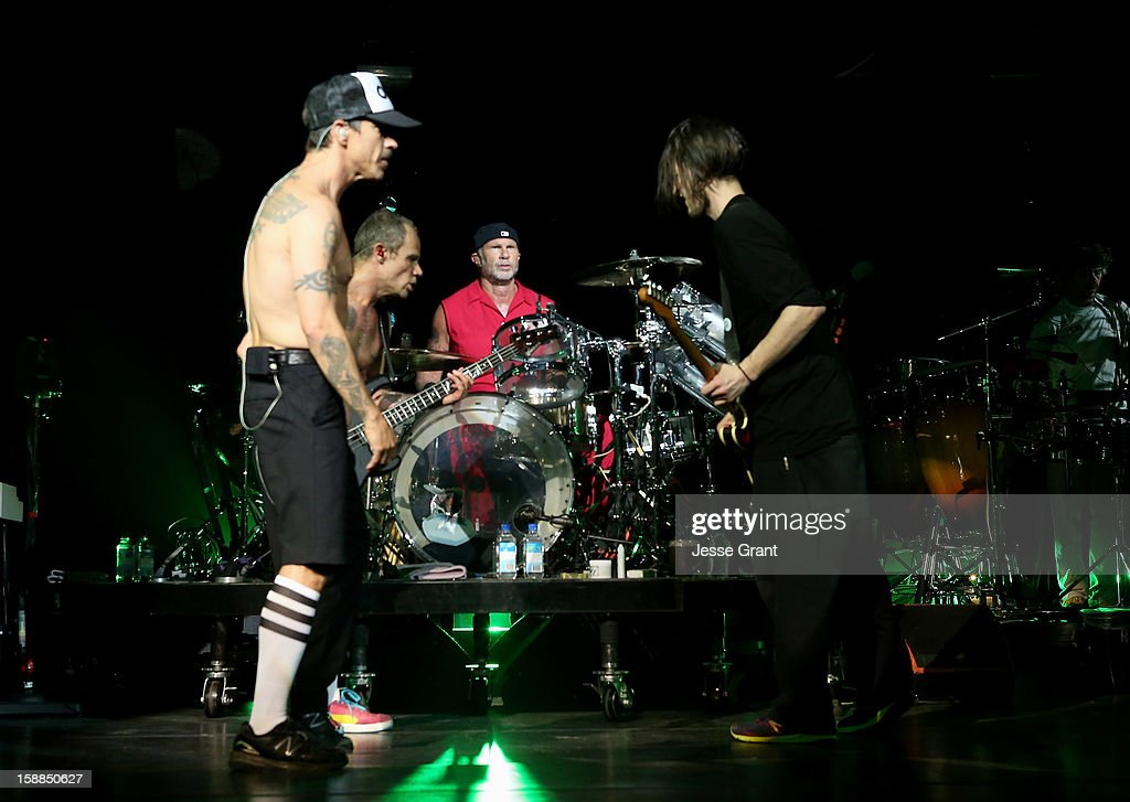 <a gi-track='captionPersonalityLinkClicked' href=/galleries/search?phrase=Anthony+Kiedis&family=editorial&specificpeople=202189 ng-click='$event.stopPropagation()'>Anthony Kiedis</a>, <a gi-track='captionPersonalityLinkClicked' href=/galleries/search?phrase=Flea+-+Musician&family=editorial&specificpeople=213900 ng-click='$event.stopPropagation()'>Flea</a>, <a gi-track='captionPersonalityLinkClicked' href=/galleries/search?phrase=Chad+Smith+-+Drummer&family=editorial&specificpeople=12809050 ng-click='$event.stopPropagation()'>Chad Smith</a> and <a gi-track='captionPersonalityLinkClicked' href=/galleries/search?phrase=Josh+Klinghoffer&family=editorial&specificpeople=4234353 ng-click='$event.stopPropagation()'>Josh Klinghoffer</a> of The Red Hot Chili Peppers perform on New Year's Eve at The Cosmopolitan of Las Vegas on December 31, 2012 in Las Vegas, Nevada.