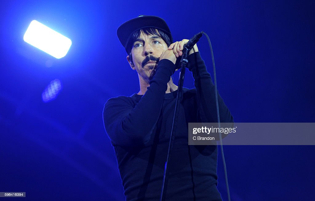 Anthony Kiedis of Red Hot Chili Peppers headlines on the Main Stage during Day 2 of the Reading Festival at Richfield Avenue on August 27, 2016 in Reading, England.
