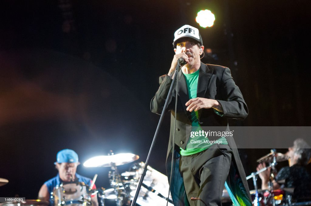 Anthony Kiedis of Red Hot Chilli Peppers performs on stage at Knebworth House on June 23 2012 in Stevenage United Kingdom
