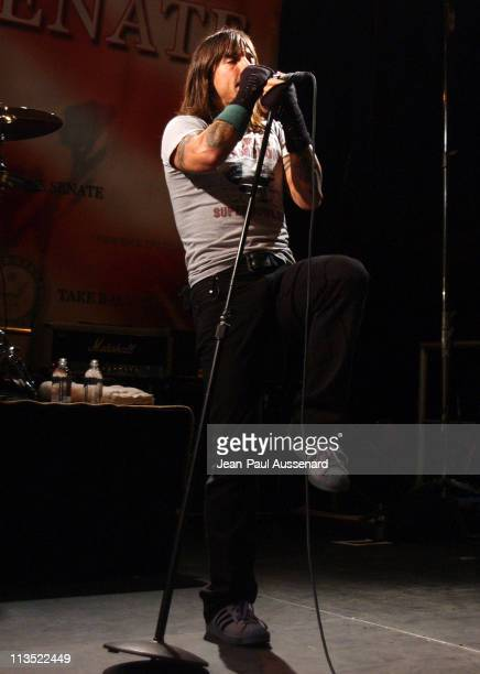 Anthony Kiedis of the Red Hot Chili Peppers during 'Democracy for the Senate' Rally and Red Hot Chili Peppers Concert in Santa Monica CA at Bergamot...