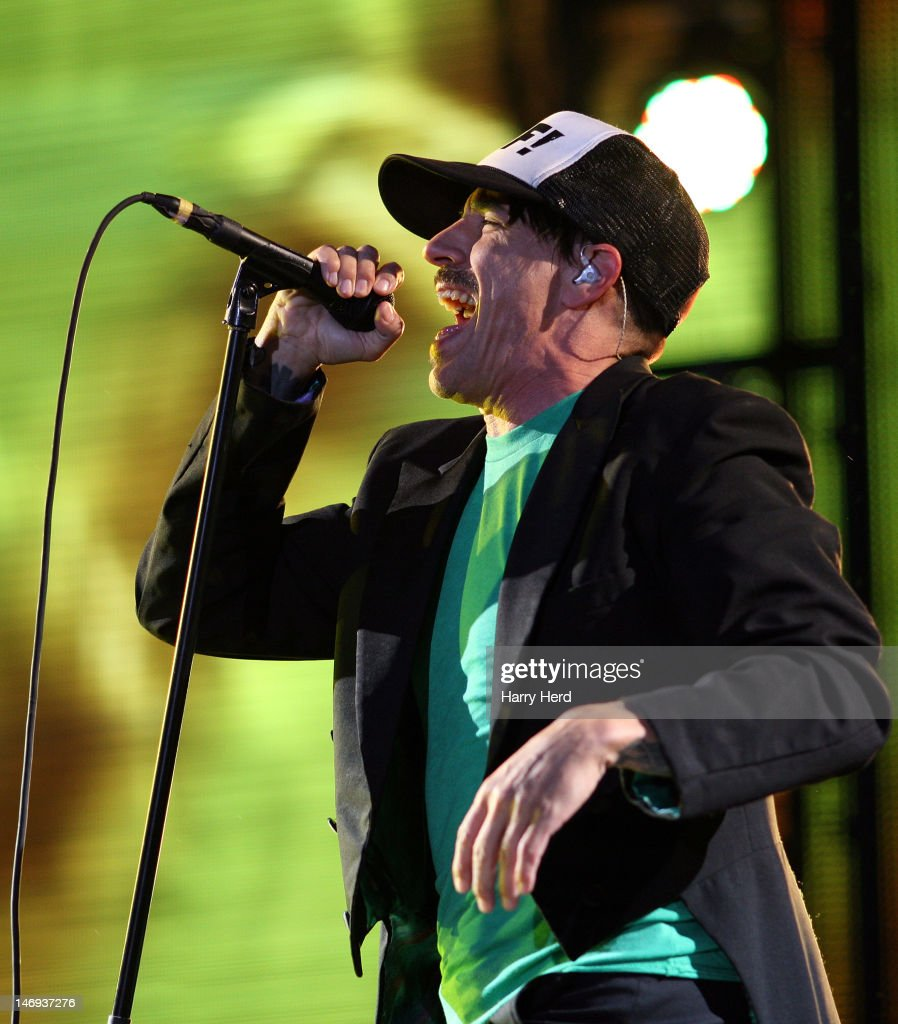 Anthony Kiedis of the Red Hot Chili Peppers performs at Knebworth House on June 23 2012 in Stevenage England