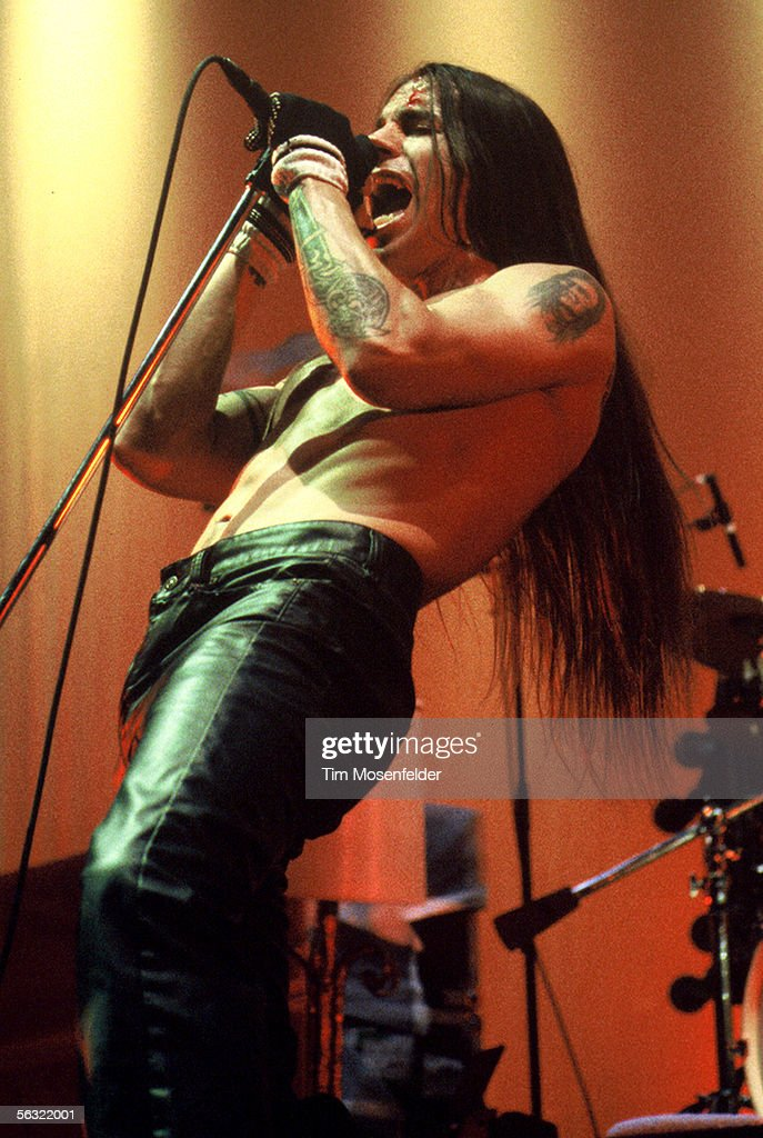 Anthony Kiedis of The Red Hot Chili Peppers performs at the Cow Palace on April 6, 1996 in San Francisco California.