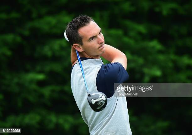 Anthony Killik of Brighton Hove Golf Club plays his first shot on the 1st tee during the PGA Lombard Trophy East Qualifier at Sandy Lodge Golf Club...